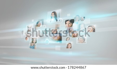 People portraits flying with high speed digital technology conce Stock photo © HASLOO