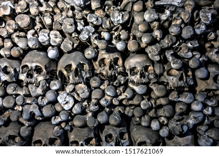 Skulls and bones. Kutna Hora, Czech Republic. textured old paper Stock photo © Zhukow