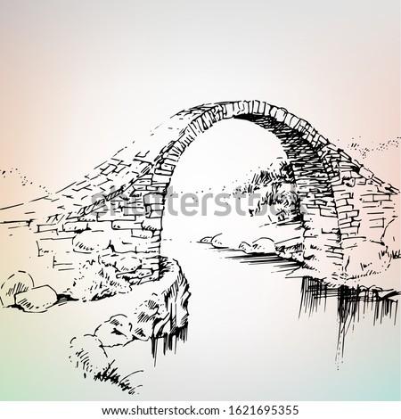 elhagyatott · híd · öreg · folyó · égbolt · fű - stock fotó © oleksandro