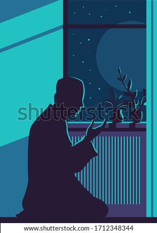 abstract religious card   muslim man praying stock photo © jackybrown
