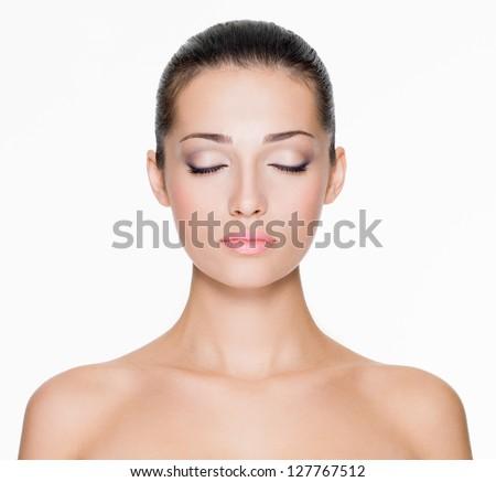 Portré gyönyörű nő csukott szemmel tiszta bőr nő Stock fotó © deandrobot
