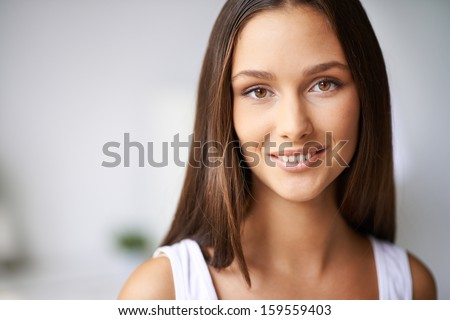 Beautiful woman face. Perfect toothy smile. Caucasian young girl close up portrait. Stock photo © arturkurjan