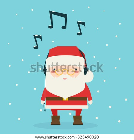 vector of man wearing santa hat listening to music on headphones stock photo © morphart