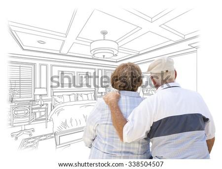 idős · pár · néz · vám · hálószoba · terv · rajz - stock fotó © feverpitch