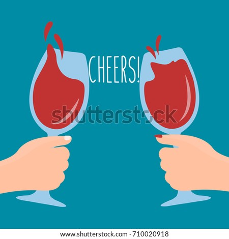 Man and woman clink glasses. Splashes of wine from glasses. Silhouettes against sea. Stock photo © Paha_L