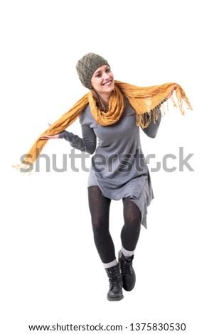 mooie · blijde · vrouw · hoofddoek · bergen - stockfoto © Paha_L