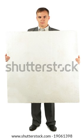 businessman with foam plastic board with businessman with foam p stock photo © paha_l