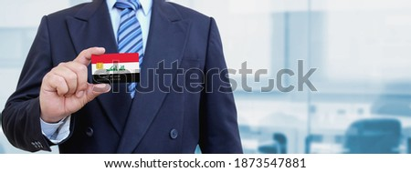 credit card with iraq flag background for bank presentations and business isolated on white stock photo © tkacchuk