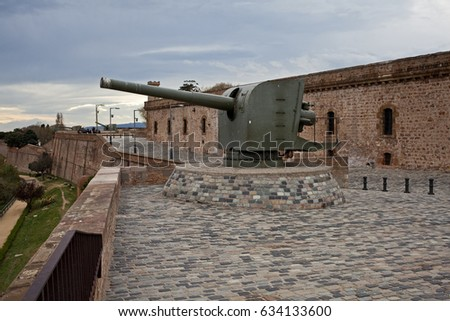 Cannon in the fortress of Montjuic, Military Museum in Barcelona, Spain Stock photo © frimufilms