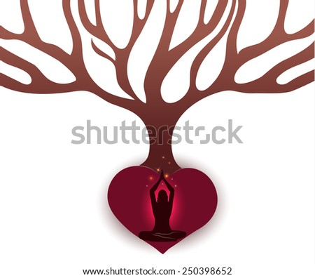 woman meditate under the big tree in the abstract roots of heart stock photo © tefi