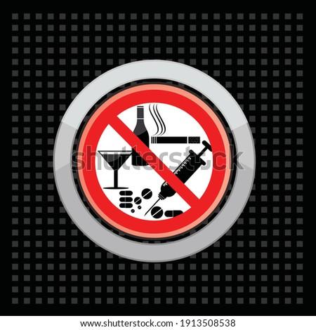 Figyelem drogok alkohol piros jelzőtábla sör Stock fotó © MaryValery