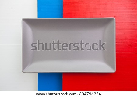 üres szürke kerámia edény piros fa asztal Stock fotó © CaptureLight