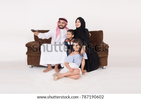 Stockfoto: Arab Family Together In A Beautiful Dress Father Mother Daugh