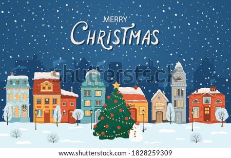 vrolijk · christmas · stad · blauwe · hemel · gelukkig · gezin · buiten - stockfoto © curiosity
