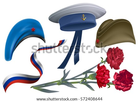 Defender of Fatherland Day. Set of accessories for greeting card field cap, peakless hat, beret, car Stock photo © orensila