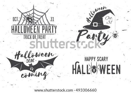 Stock photo: Happy Halloween Logotype.  Grunge stamp letters and scary elemen