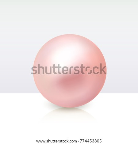 realistic pearls isolated vector sphere shiny sea peach cream pearl illustration stock photo © pikepicture