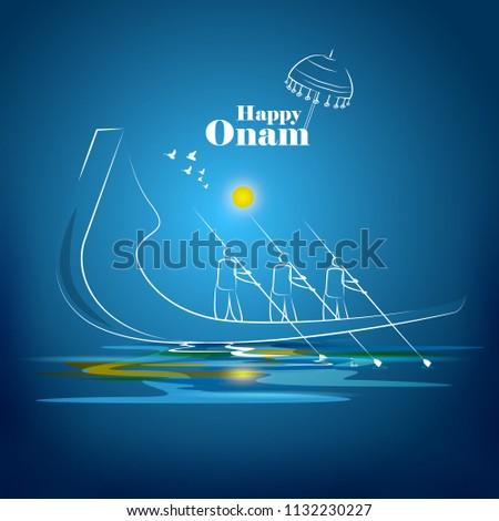 Happy Onam greeting card. Hindu festival of Kerala in India. Mahabali king returns swimming on boat Stock photo © orensila