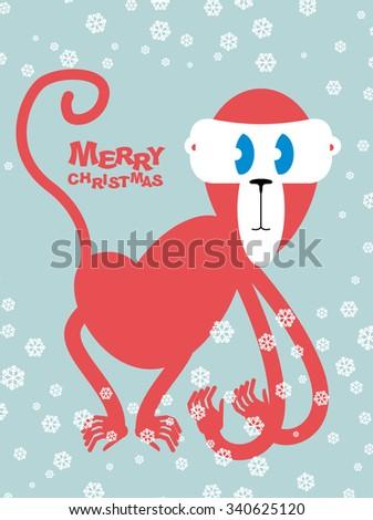 Feliz Navidad rojo mono símbolo año nuevo Foto stock © popaukropa