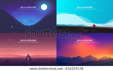 set of nature landscape backgrounds with silhouettes of mountains and trees vector illustration stock photo © leo_edition