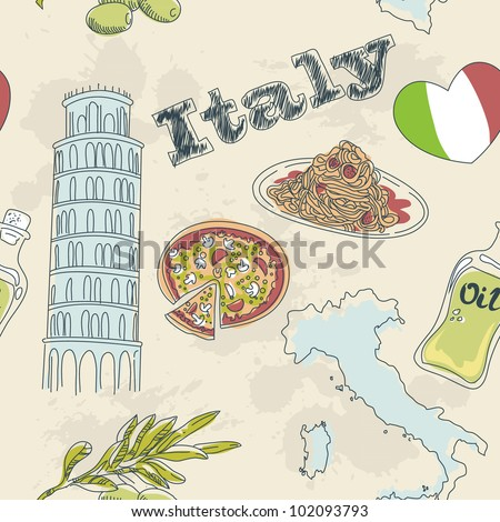 Italy seamless pattern. Sightseeing: leaning tower of Pisa, Colo Stock photo © popaukropa