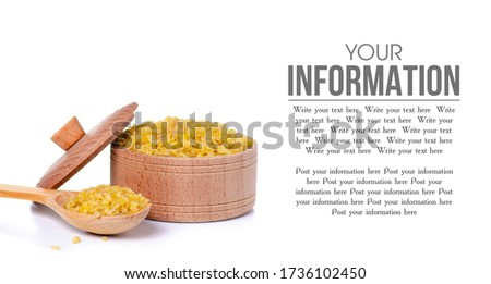bulgur in wooden bowl and spoon groats in wood dish and shovel stock photo © maryvalery