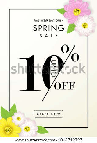 Spring sale design with colorful flowers, daisy and leaves background for spring seasonal promotion, Stock photo © ikopylov