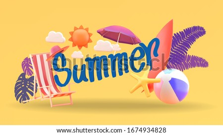 Summer poster with tropical leaves and summer accessories, season sale vector illustration. Stock photo © ikopylov