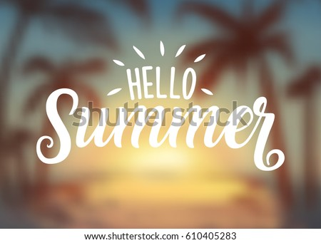 Hello Summer lettering typography on blurred sunset with bokeh lights, vector illustration Stock photo © ikopylov