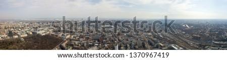 Panorâmico ver cidade ferrovia blue sky Foto stock © artjazz