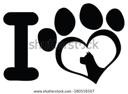 Szeretet fekete szív mancs nyomtatott karmok Stock fotó © hittoon