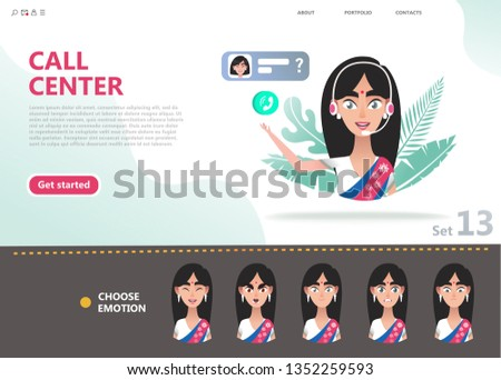 Indian woman operator avatar customer call center concept vector Stock photo © NikoDzhi