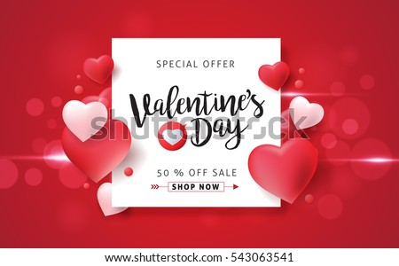 valentines day sale illustration with red heart balloon on pink background vector special offer des stock photo © articular