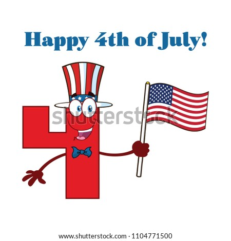 Stock photo: Happy Red Number Four Cartoon Mascot Character Waving An American Flag