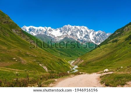 Mountain landscape with the Inguri River and the peak of Shkhara Stock photo © Kotenko