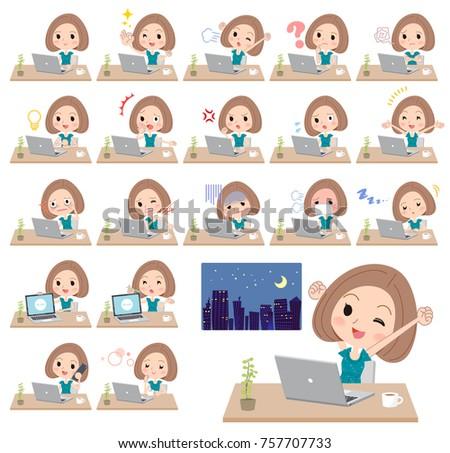 Bob hair green dress women_desk work Stock photo © toyotoyo