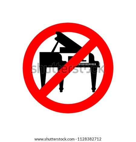 Stop piano. Red prohibitory road sign. Ban Music Vector illustra Stock photo © MaryValery