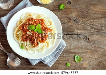 spaghetti pasta bolognaise with beef and tomato parmesan sauce stock photo © travelphotography