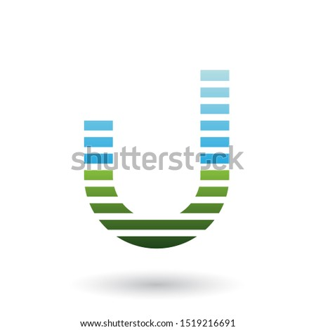 Stock photo: Blue and Green Letter U Icon with Horizontal Thin Stripes Vector