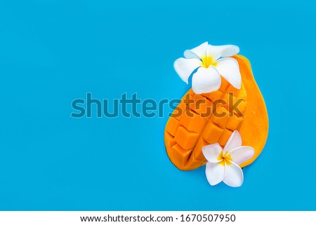 Rijp tropische mango vruchten Blauw ingericht Stockfoto © artjazz