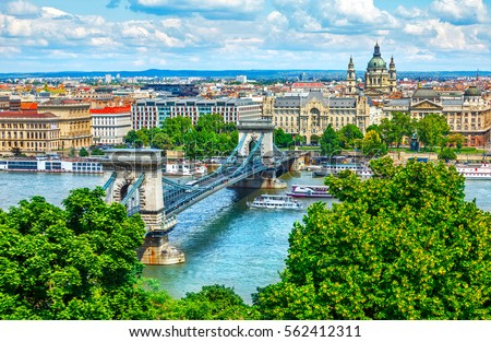 Stock photo: Panorama of Budapest, Hungary, with the Chain Bridge and the Parliament.