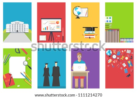 Back to school information cards set. Student template of flyear, magazines, posters, book cover, ba Stock photo © Linetale