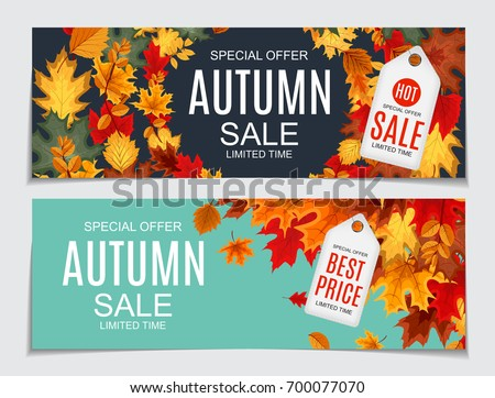 Autumn Sale Design with Falling Leaves and Lettering on White Background. Autumnal Vector Illustrati Stock photo © articular