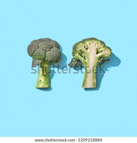 Brokkoli kék tükröződés árnyékok űr szöveg Stock fotó © artjazz