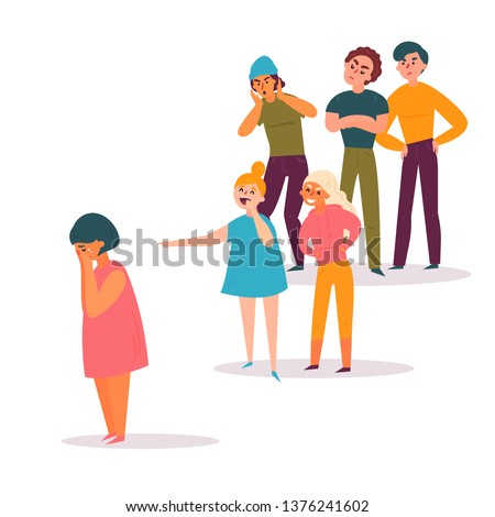 School Conflict, Sad Teenager Is Surrounded By Classmates Ridiculing Him Vector. Isolated Illustrati Stock photo © pikepicture