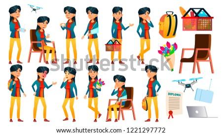 Asian teen girl zestaw wektora pozytywny Zdjęcia stock © pikepicture
