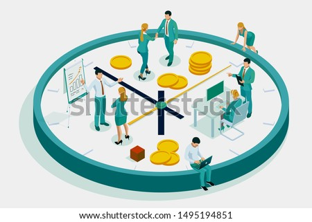 Isometric flat vector concept of effective time management, planning. Stock photo © TarikVision