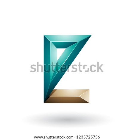 Beige and Green 3d Geometrical Embossed Letter E Vector Illustra Stock photo © cidepix