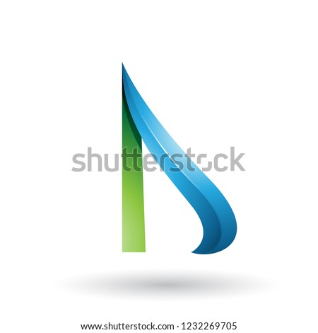 Green and Blue Embossed Arrow-like Letters A and D Vector Illust Stock photo © cidepix
