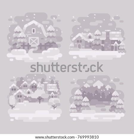 Set vier monochrome weiß Winter Landschaft Stock foto © IvanDubovik